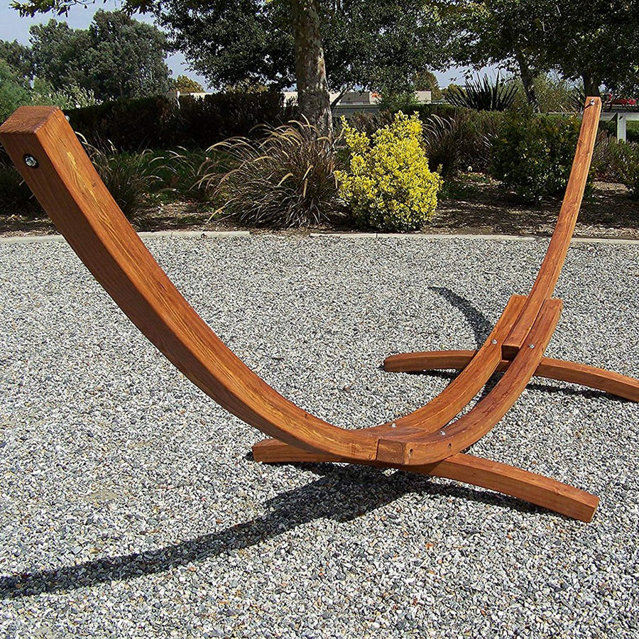 Petra Leisure Teak Wooden Arc Hammock Stand + Quilted Double Padded Hammock Bed