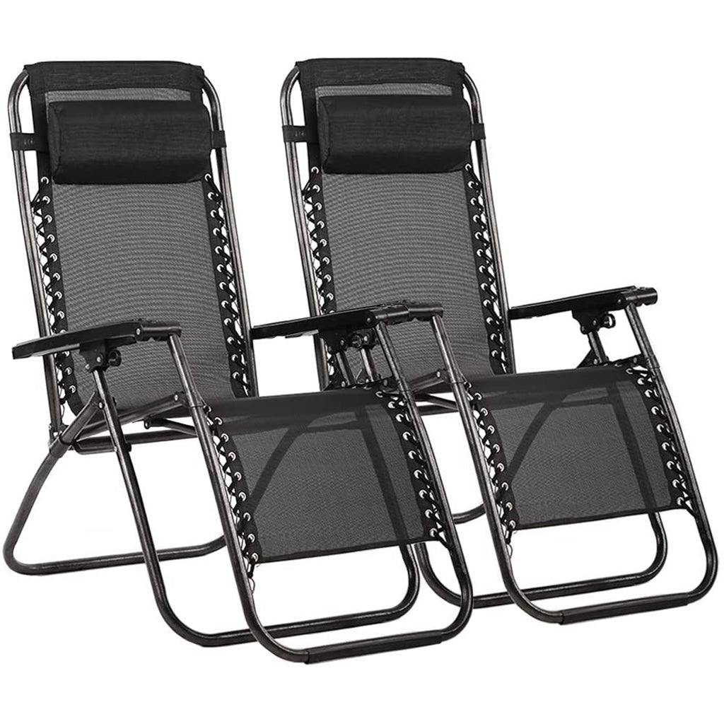 Zero Gravity Chair Patio Lounge Chair Adjustable Folding Set of 2
