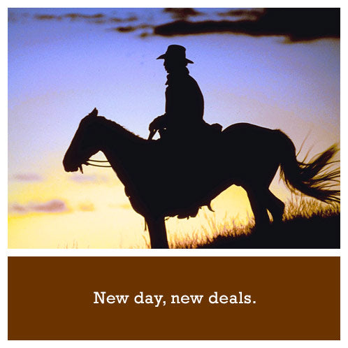 New Products - Cowboy on horse at sunrise