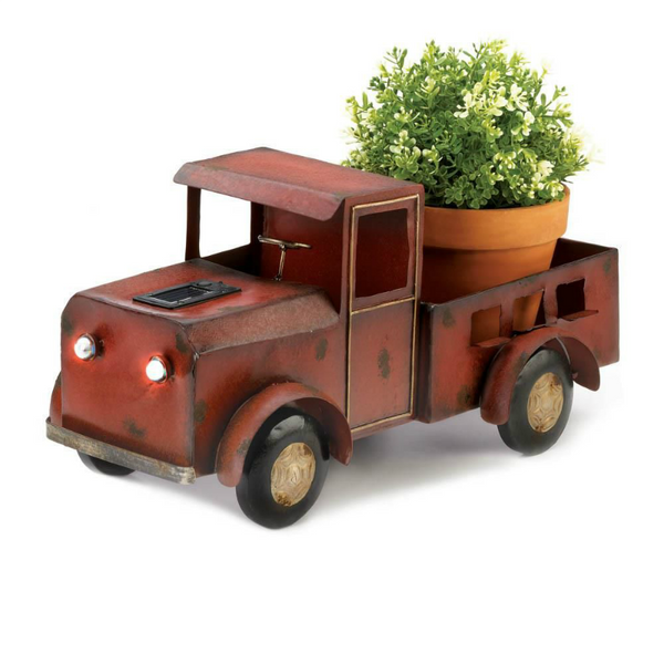 Vintage Red Truck Solar Powered Planter