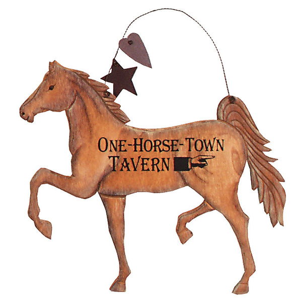 Carved Horse Sign One-Horse Town Tavern 30587