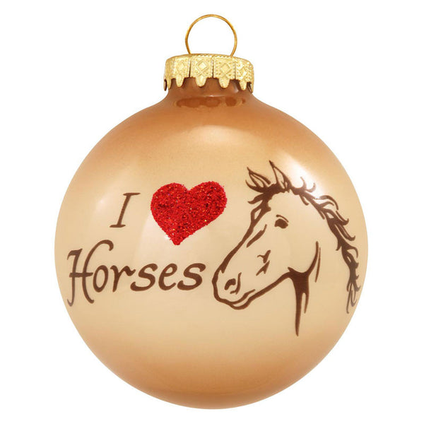 I Love Horses Glass Ball Ornament
