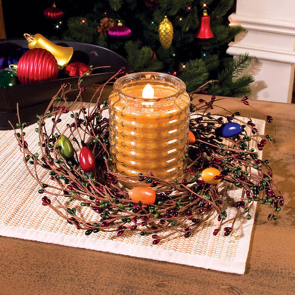 Holiday Christmas Lights Berry Candle Ring 32460