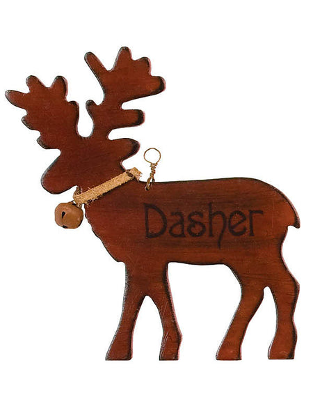 Wooden Dasher Reindeer Christmas Ornament X44627