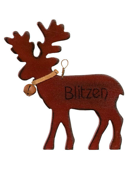 Wooden Blitzen Reindeer Christmas Ornament X44627
