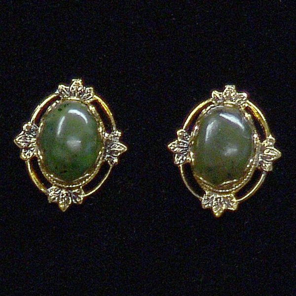 Wyoming Jade Antiqued Oval Filigree Earrings EP18-1