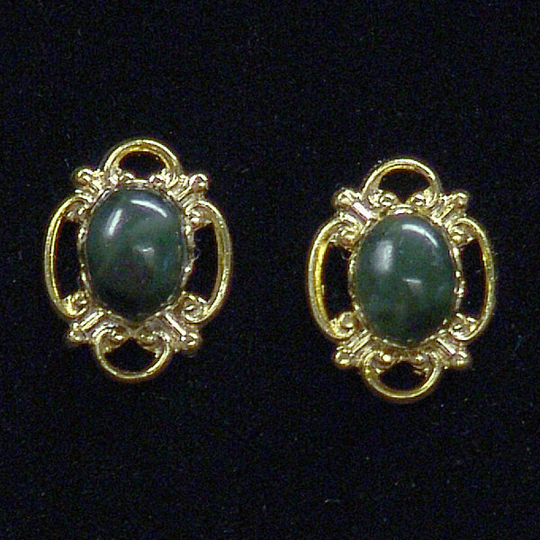 Wyoming Jade Victorian Filigree Oval Earrings EP24