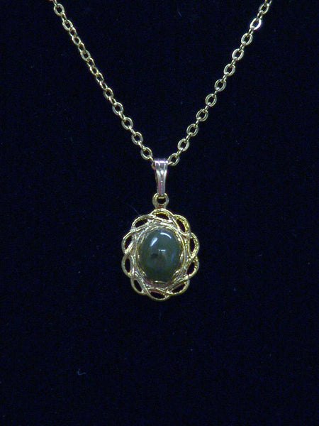 Wyoming Jade Large Petal Filigree Oval Necklace PE61