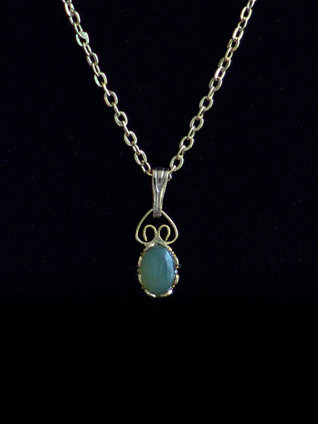 Wyoming Jade Tiny Oval Necklace PE67