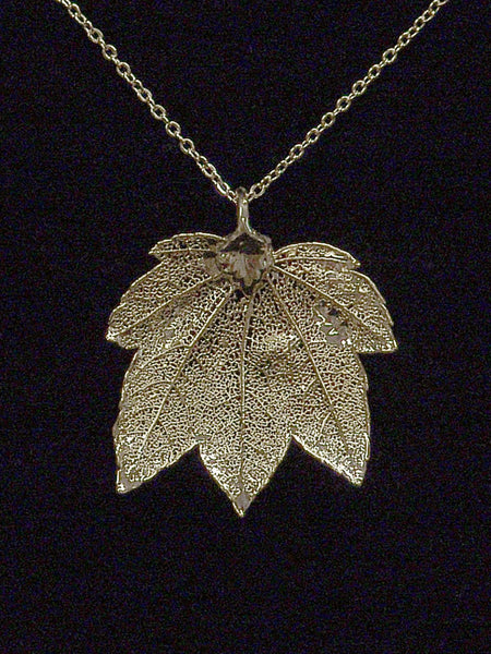 Full Moon Maple Gold Leaf Necklace CJMAP
