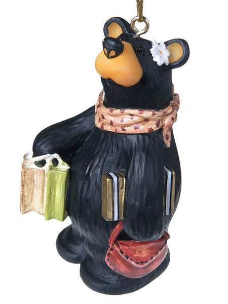 Holiday Black Bear Shopping Christmas Ornament 50687