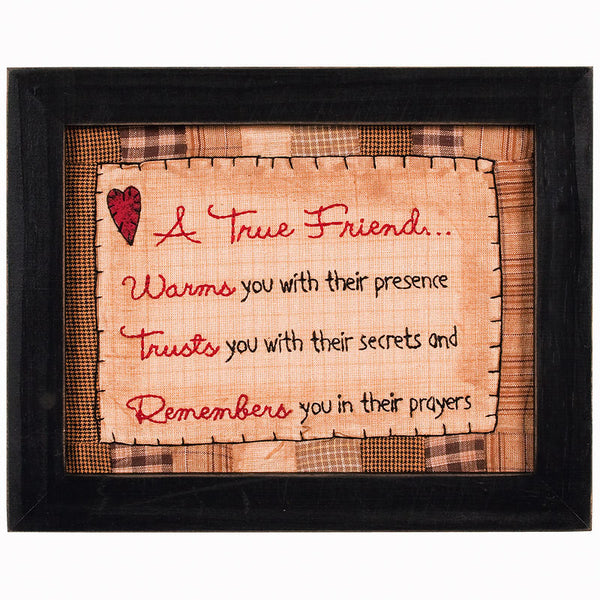 Vintage A True Friend Framed Stitchery 32976