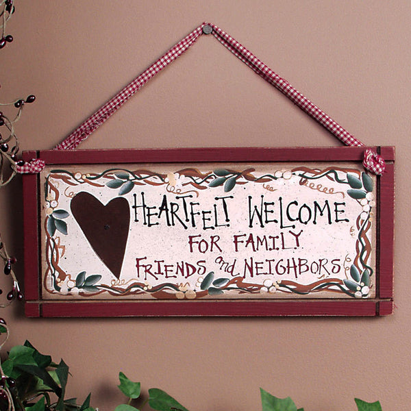 Wooden Heartfelt Welcome Sign 29466