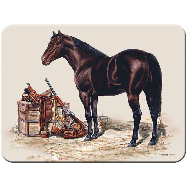 Pack Horse with Saddle & Gun Glass Cutting Board 735