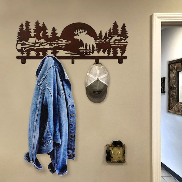 Laser Cut Metal Moose Coat Rack