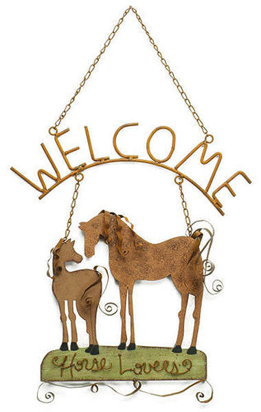 Wooden & Metal Horse Lovers Welcome Sign 57477