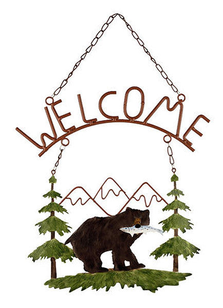 Bear with Fish Mountain Scene Welcome Sign KD172