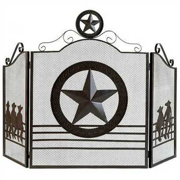 Texas Lonestar State Metal Fireplace Screen 12569