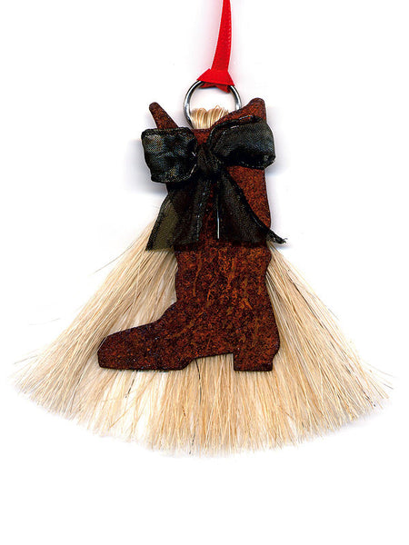 Cowboy Collectibles Natural Horse Hair Boot Christmas Ornament HCOCB
