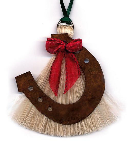 Cowboy Collectibles Natural Horse Hair Horseshoe Christmas Ornament HCOHS