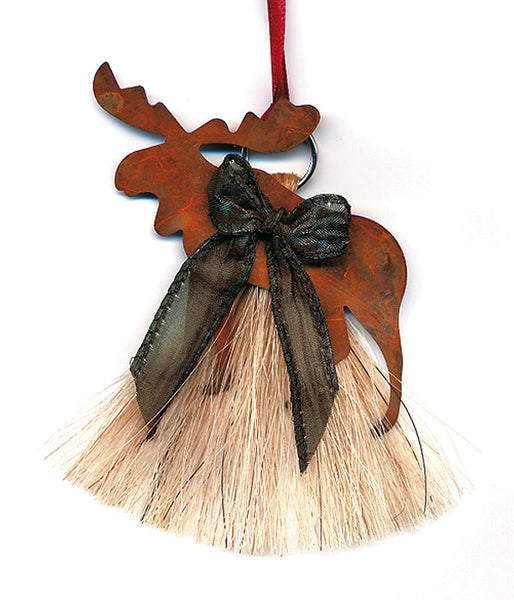 Cowboy Collectibles Natural Horse Hair Moose Christmas Ornament HCOM
