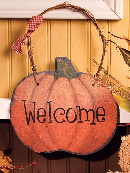 Harvest Pumpkin Slate Welcome Sign 32957