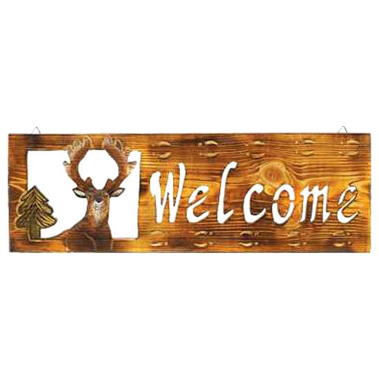 Wooden Whitetail Deer Welcome Sign 12591