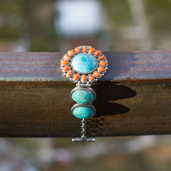 Reconstituted Turquoise and Coral Sunburst Toggle Bracelet