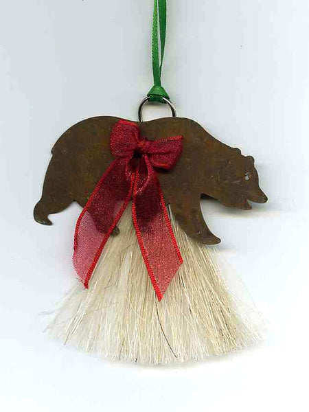 Cowboy Collectibles Natural Horse Hair Bear Christmas Ornament HCOG