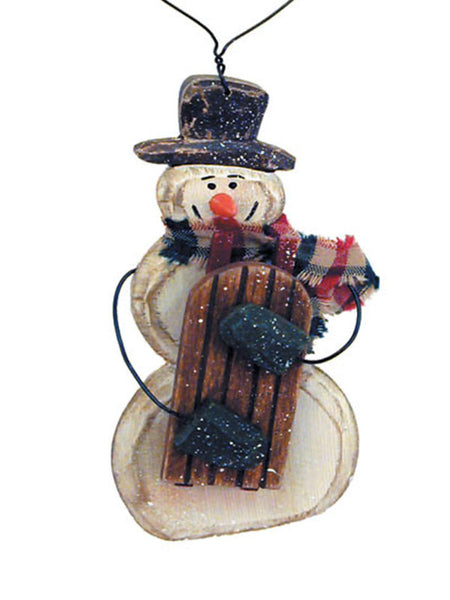 Carved Snowman with Sled Christmas Ornament X40419