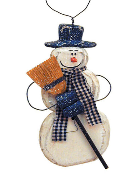 Carved Snowman with Scarf Christmas Ornament X40419