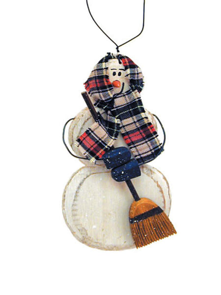 Carved Snow Woman with Broom Christmas Ornament X40419