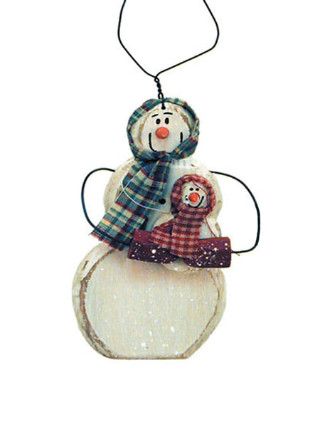 Carved Snow Woman with Baby Christmas Ornament X40419
