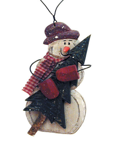 Carved Snowman with Christmas Tree Ornament X40419