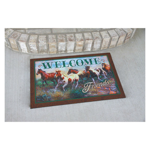Welcome Friends Horses Door Mat