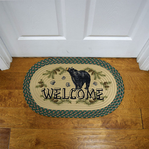 Oval Braided Black Bear Welcome Rug