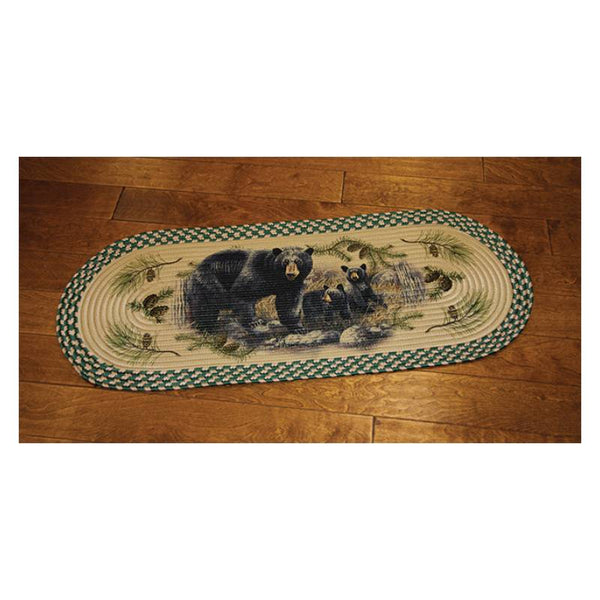 Long Oval Braided Black Bears Rug