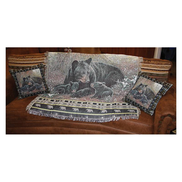 Black Bear Family Tapestry Pillows