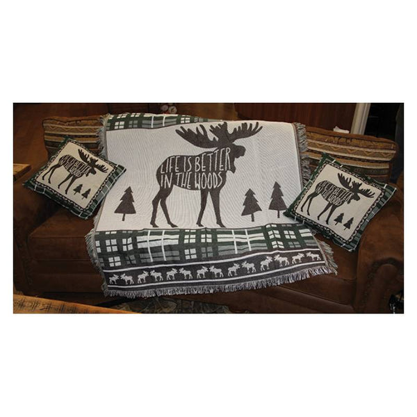 Life Is Better In The Woods Moose Tapestry Pillows