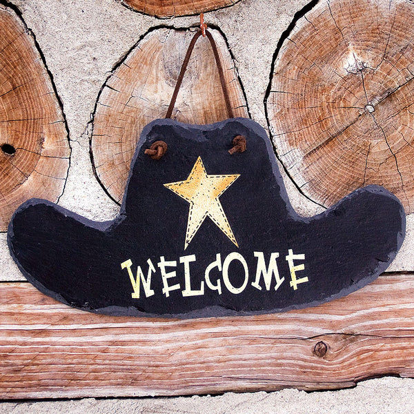 Cowboy Hat Welcome Slate Sign 33544