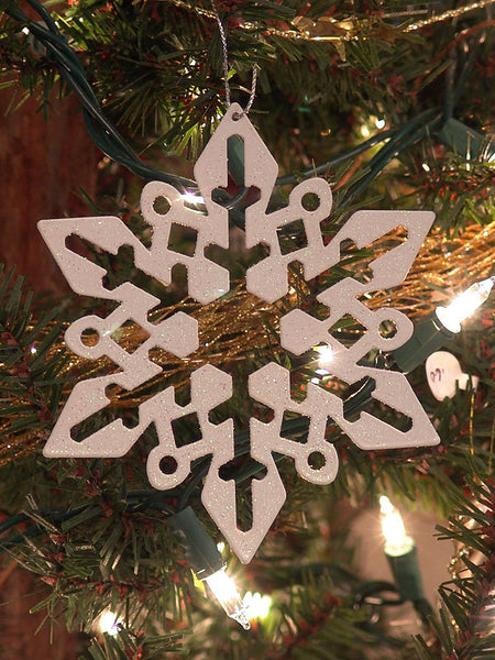 White Glitter Snowflakes Christmas Ornament Bold 1411520A
