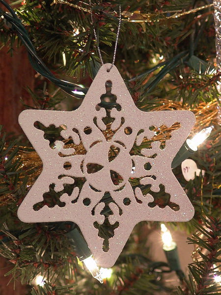 White Glitter Snowflake Christmas Ornament Ornate 1411520B