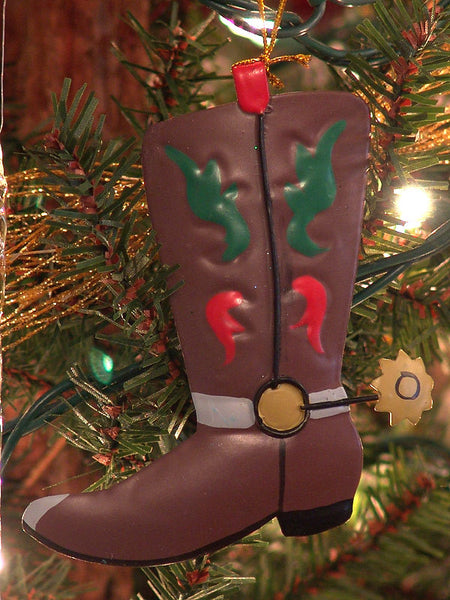 Metal Cowboy Boot Christmas Ornaments Brown 1307760A