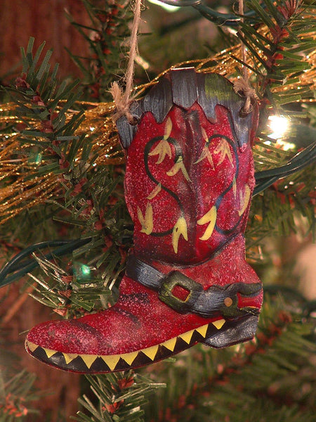 3D Metal Cowboy Boot Christmas Ornament multi-colored 1307760B