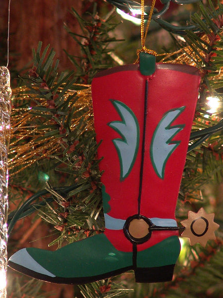 Metal Cowboy Boot Christmas Ornament red & green 1307760C