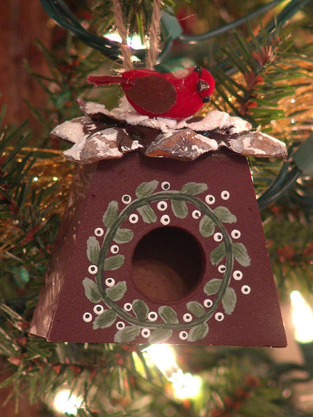 Red Woodland Bird House Christmas Ornament 1416590F