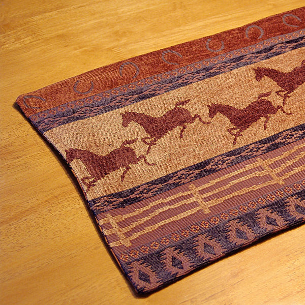 Running Horses & Horseshoes Brocade Table Runner Horsetbl