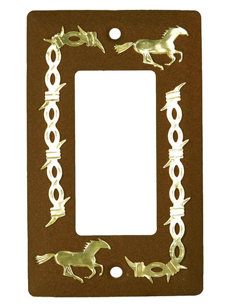 Rustic Horse & Brass Barbed Wire Single Rocker Light Switch Plate 1611