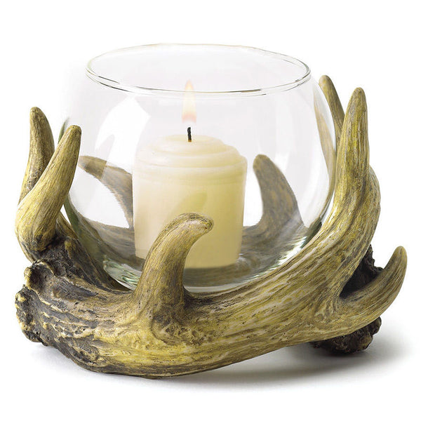 Rustic Faux Deer Antler Candle Holder 38444