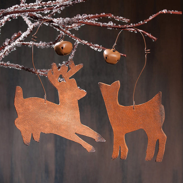 Leather Western Deer Christmas Ornaments X45601